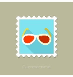 Sunglasses flat stamp with long shadow vector