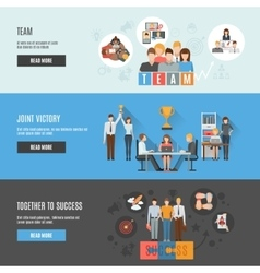 Teamwork management flat interactive horizontal vector