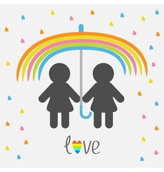 Rainbow umbrella heart rain Gay marriage Pride vector image