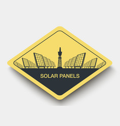 Icon solar panels plant and energy vector
