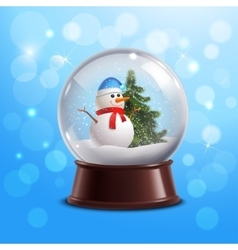 Snow globe with snowman vector