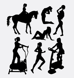 Female sport activity silhouette vector