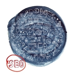 Doodle seo concept with icons in watercolor blue vector
