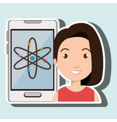Woman smartphone science isolated icon design vector