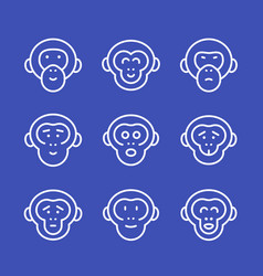 Apes line icons set vector