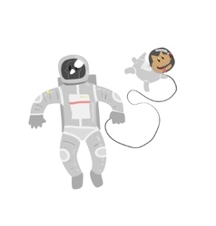 Astronaut in space with dog vector