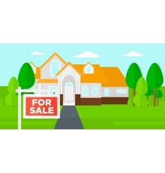 Background of house with for sale sign vector