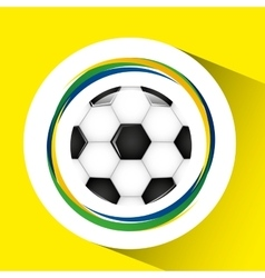 Ball soccer olympic games brazilian flag colors vector