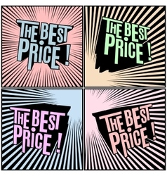 Best Price wording in shaded comics background vector image