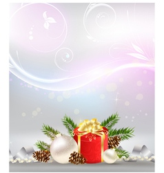 Christmas background with decoration gift vector image