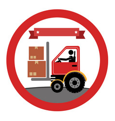 circular emblem with forklift truck with forksand vector image