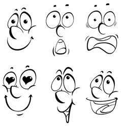 different facial expressions on white background vector image vector image