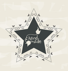 Emblem in shape of star with branches design vector