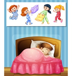 Girl sleeping in bed vector