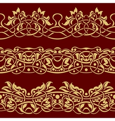 Gold floral seamless border design element vector
