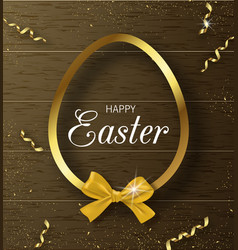 Happy easter background with golden frame and bow vector
