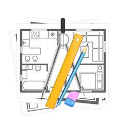 House plan and tool for drawing vector