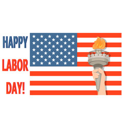 Labor day greeting card with usa flag and statue vector