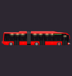 Large articulated bus red with modern design vector