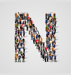 large group of people in letter n form vector image vector image