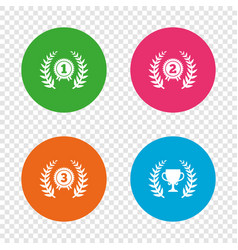 laurel wreath award icons prize cup for winner vector image