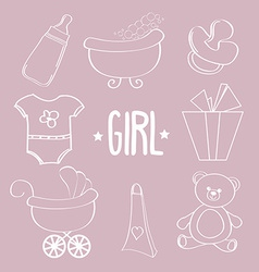 Linear baby girl items set vector