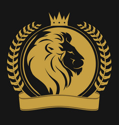 Lion head with crown logo vector
