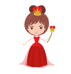 Queen with crown and scepter in red dress on white vector