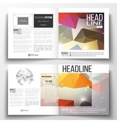 Set of square design brochure template molecular vector