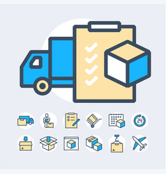 simple set of delivery related color line vector image