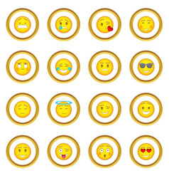smiles icons circle vector image vector image