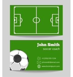 Soccer green field business card template vector image vector image