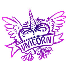 Unicorn heart with wings logo vector