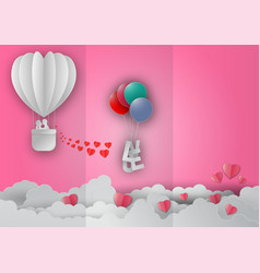 Valentines day concept with balloon and heart vector
