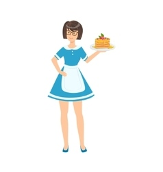 Waitress holding plate with pancakes part of vector