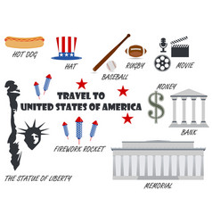 Welcome to usa symbols united states set vector
