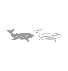 whale icon grey set vector image vector image