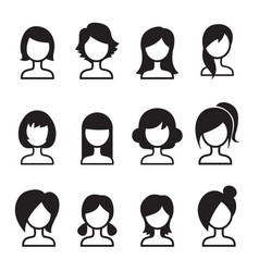 Woman hair style icon set vector