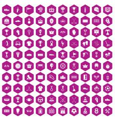 100 awards icons hexagon violet vector
