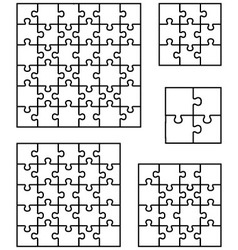 Puzzles separate pieces vector
