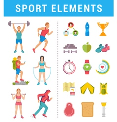 Set sport people with icons and elements vector