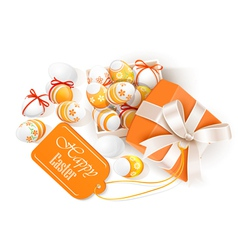 Open box with easter eggs vector image