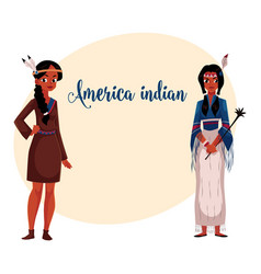 Native american indian woman in traditional vector