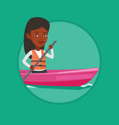 woman riding in kayak vector image