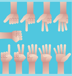 Set of hands counting zero to nine vector