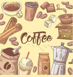 Coffee hand drawn background with coffee cup vector
