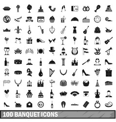 100 banquet icons set simple style vector