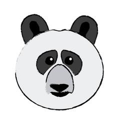 Cute face panda bear animal asia wildlife vector