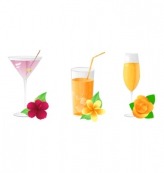 Drinks with flowers vector
