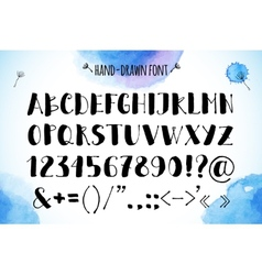 Hand-drawn alphabet on watercolor background vector